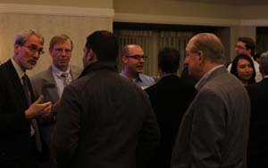 Dean Earley visits with alumni in San Francisco.